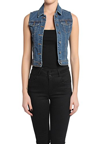 a13c0c0745535 TheMogan Women s Classic Washed Slim Fit Denim Waistcoat. October 20