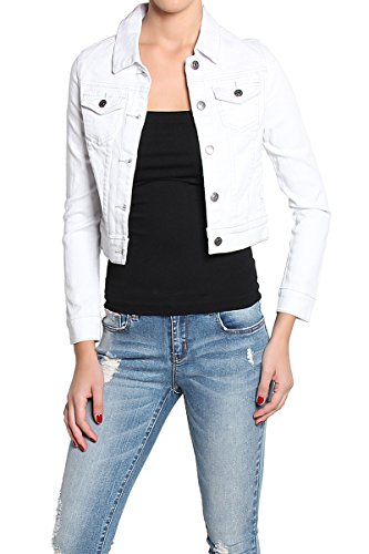 6e09470e6c129 TheMogan Women s Bleached White Wash Denim Jean Jacket – White – Medium