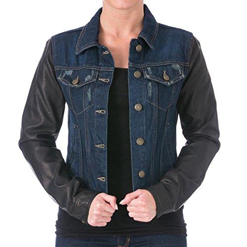 038ec510ed625 Laundry by Shelli Segal Womens Faux Leather Long Sleeves Denim Jacket