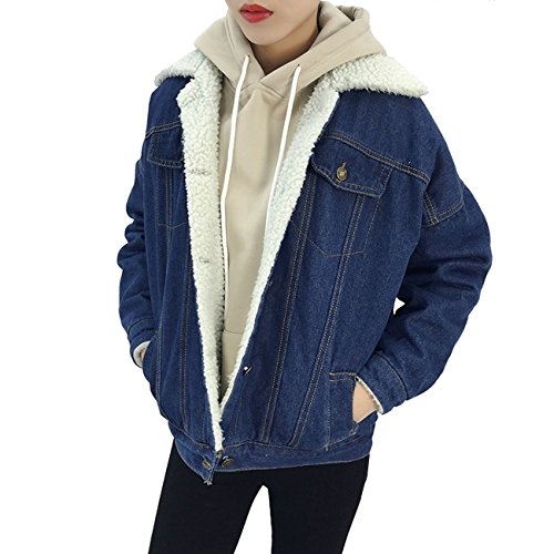 af77475cb2f17 MorySong Women s Warm Button Down Long Denim Coat Outfit Classy Quilted Jeans  Outerwear