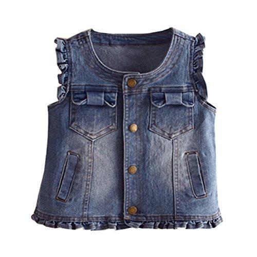 d2a5619f2ac01 UWESPRING Girls Denim Vest Summer Waistcoat Butterfly Sleeve ...