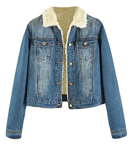 8325350f0d714 Pandapang Women s Wnter Lined Fleece Lapel Fur Collar Outwear Denim Jacket  Denim Blue Small