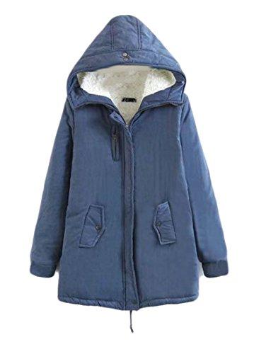 fa349a3e348a6 Zago Women s Classic Cozy Slim Fit Fleece-Lined Winter Warm Coat Hooded Jacket  Denim Blue M