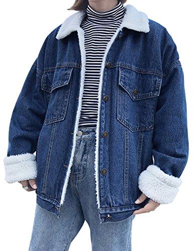 042712bf85a49 Jenkoon Women s Oversized Thick Warm Sherpa Fur Lined Denim Trucker Jacket  Boyfriend Jean Coat